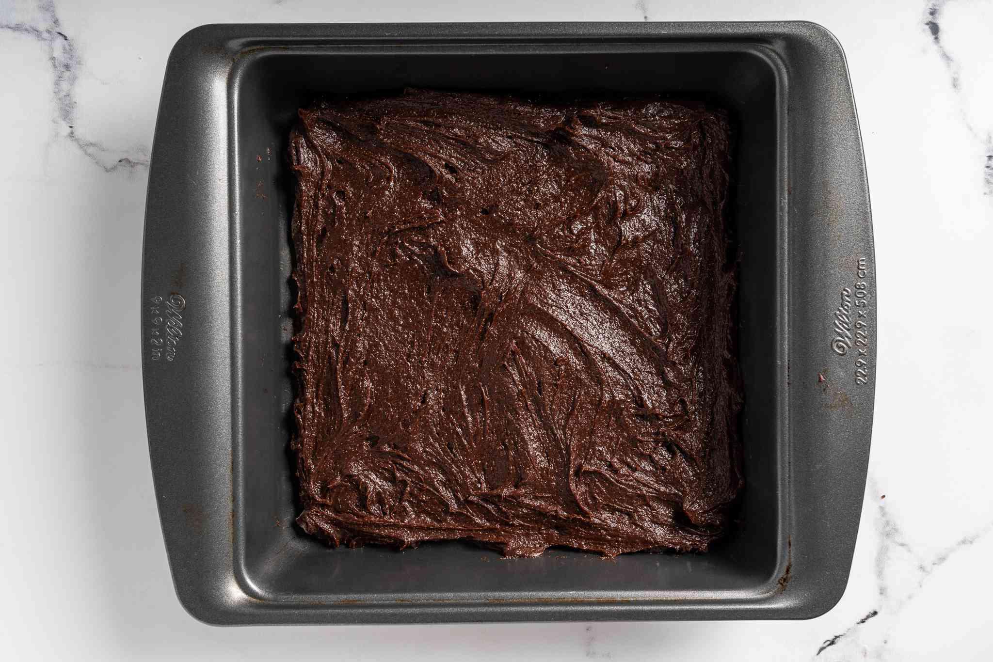Boozy Brownies batter in a baking pan