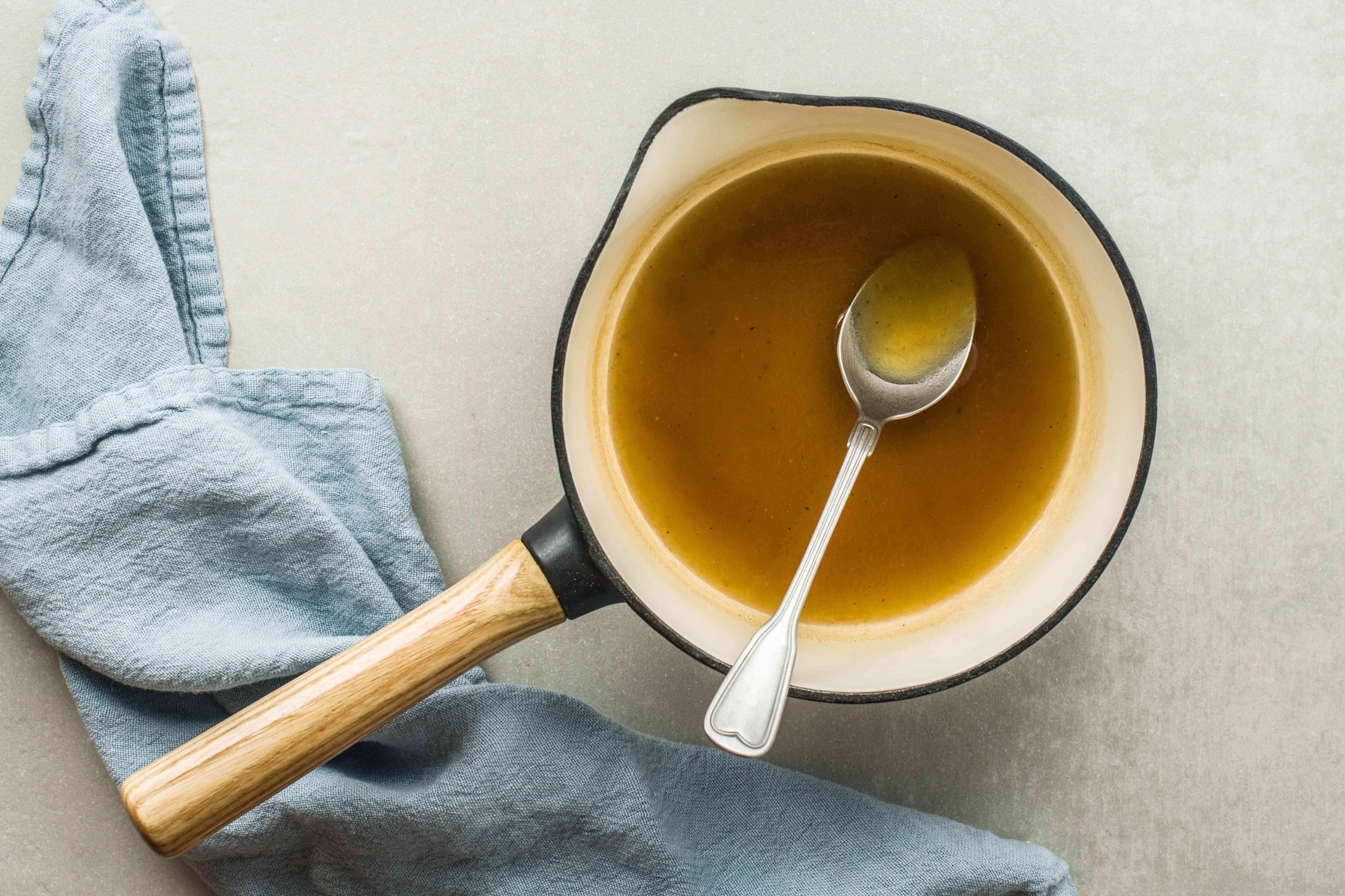Egg foo yung sauce in a pot