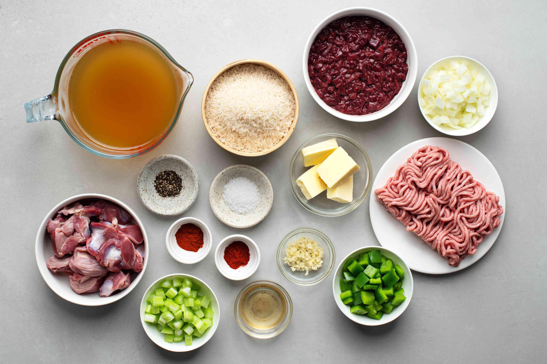 Ingredients for Cajun dirty rice