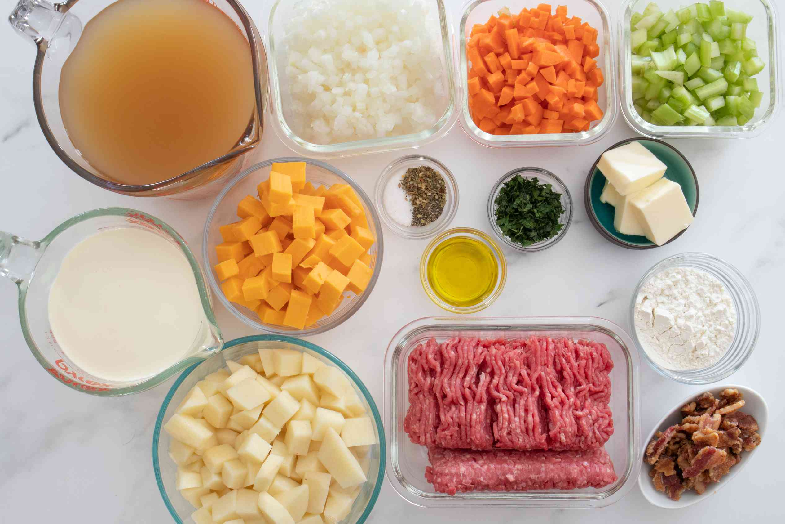 ingredients for cheeseburger soup