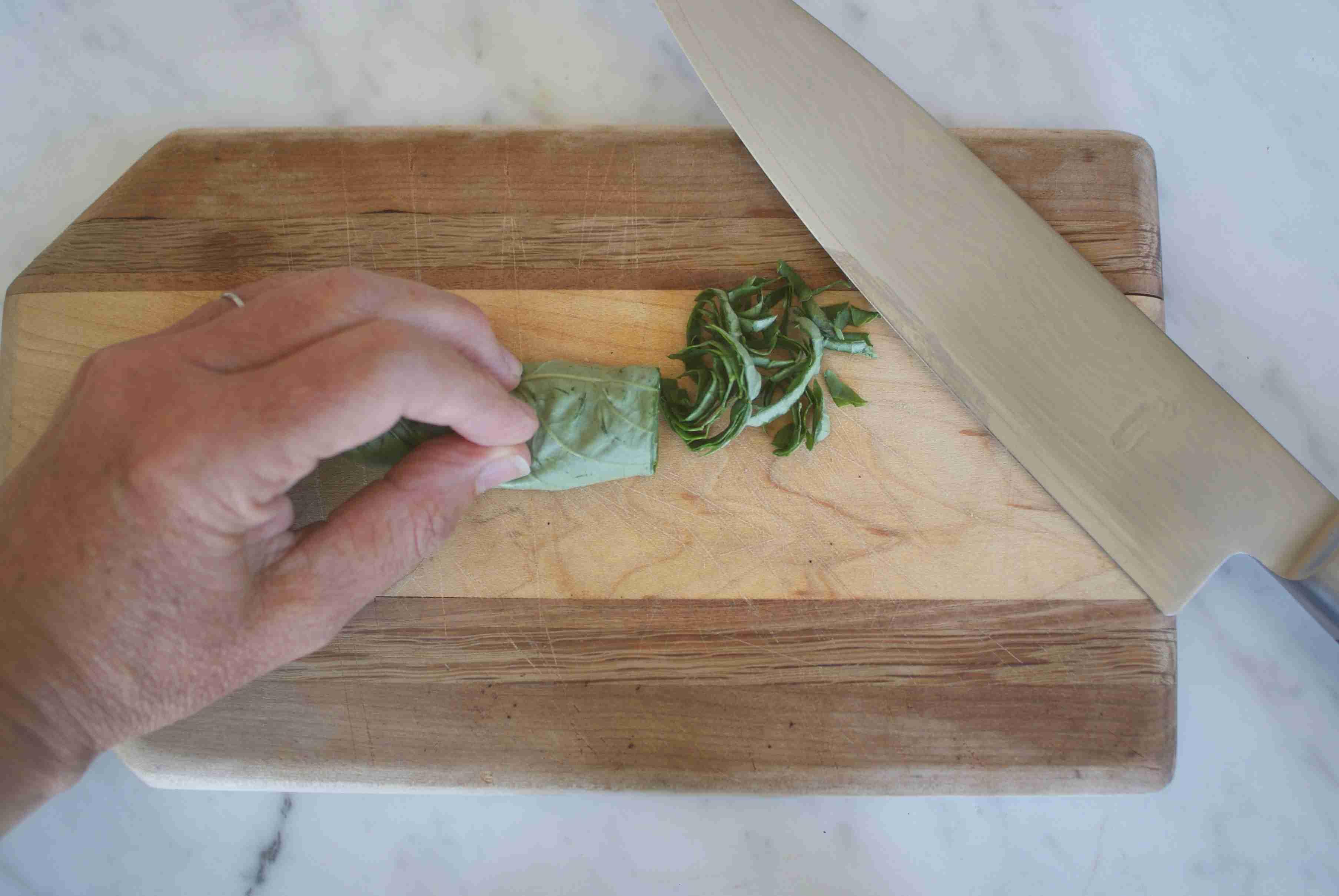 Cutting Basil Ribbons