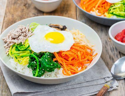 Korean bibimbap in a bowl