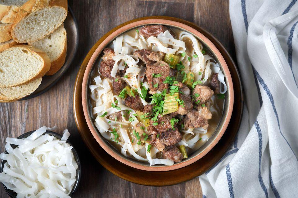 Saucy crock pot beef with noodles