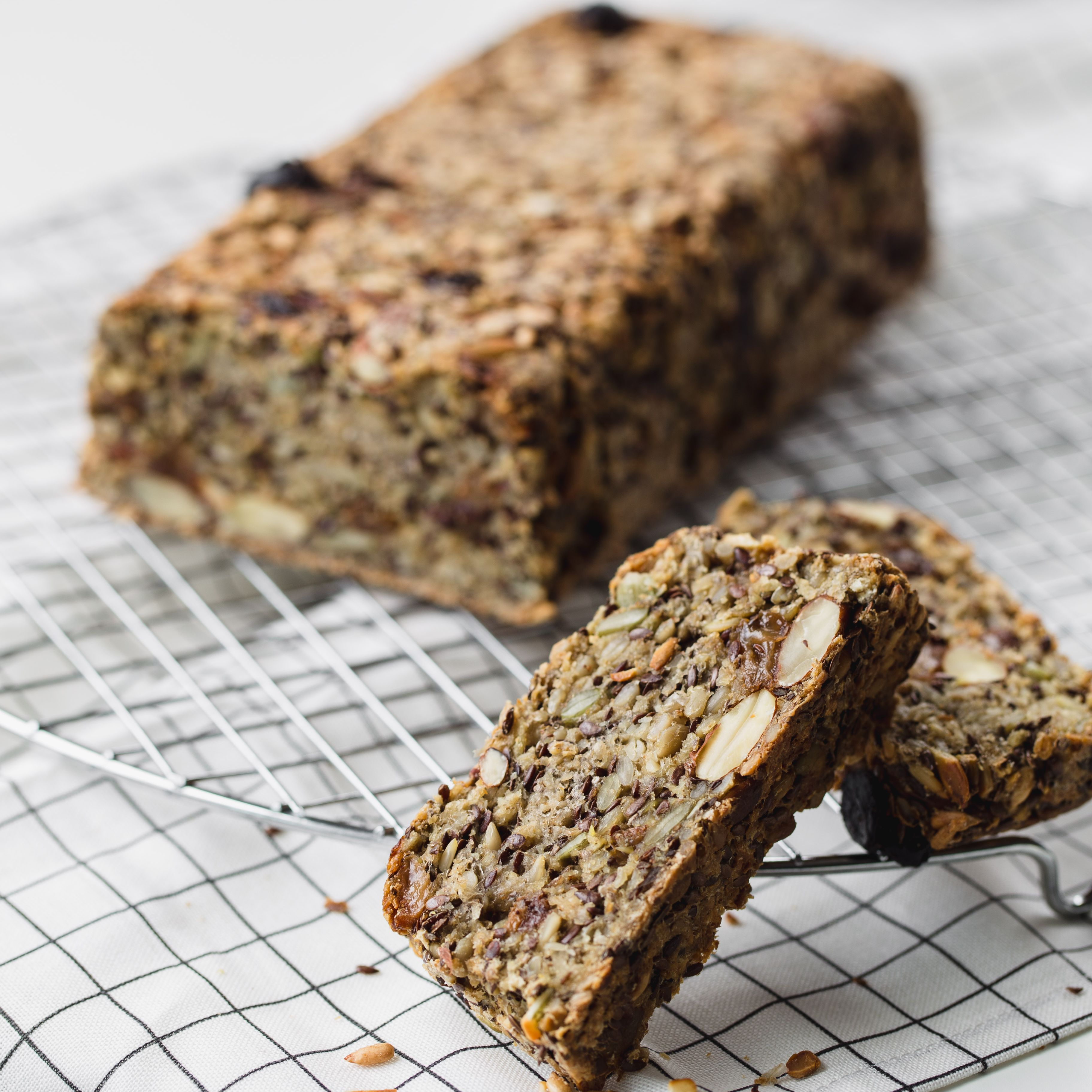 Loaf of Homemade Gluten-Free Bread with nuts