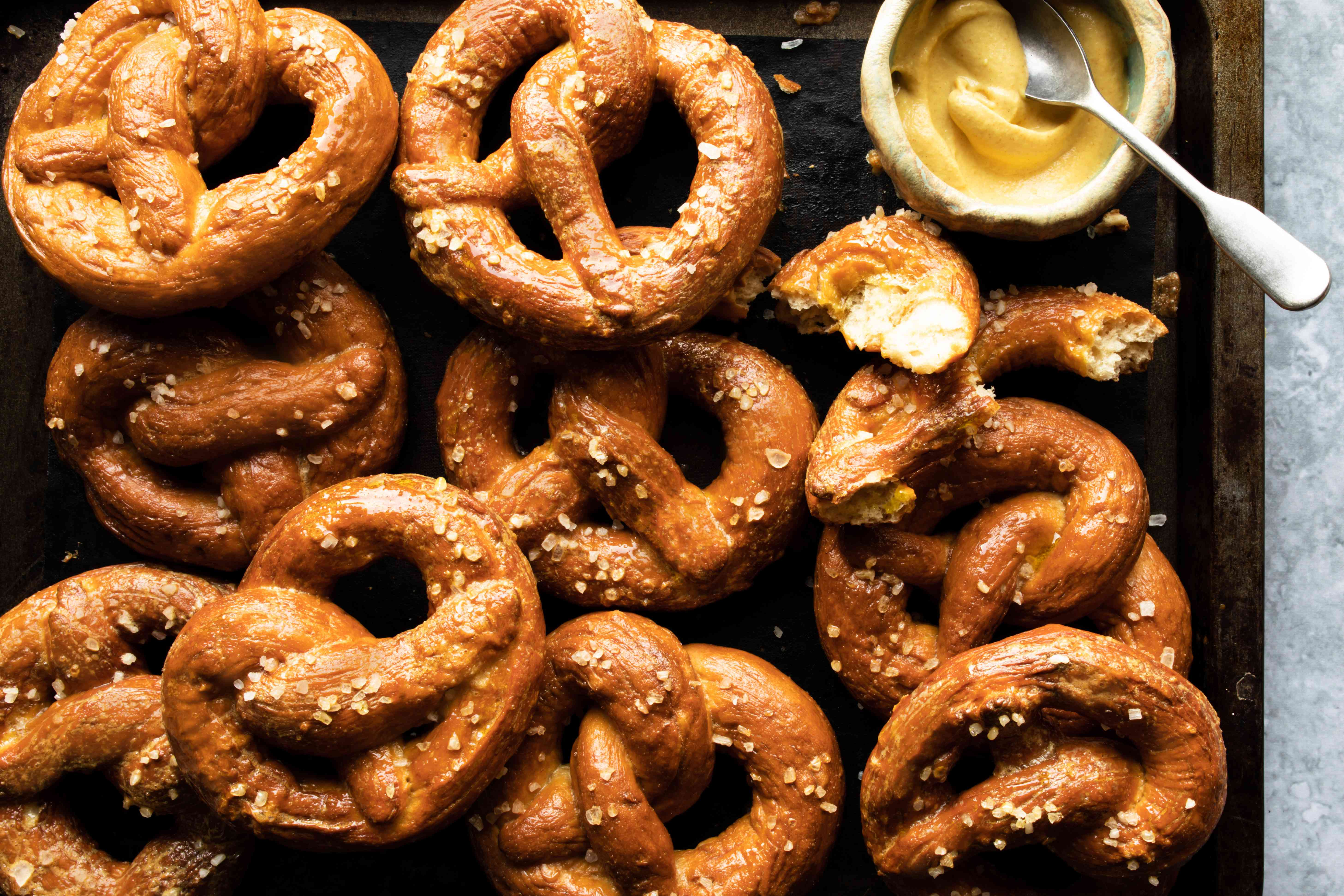 tray of homemade german pretzels