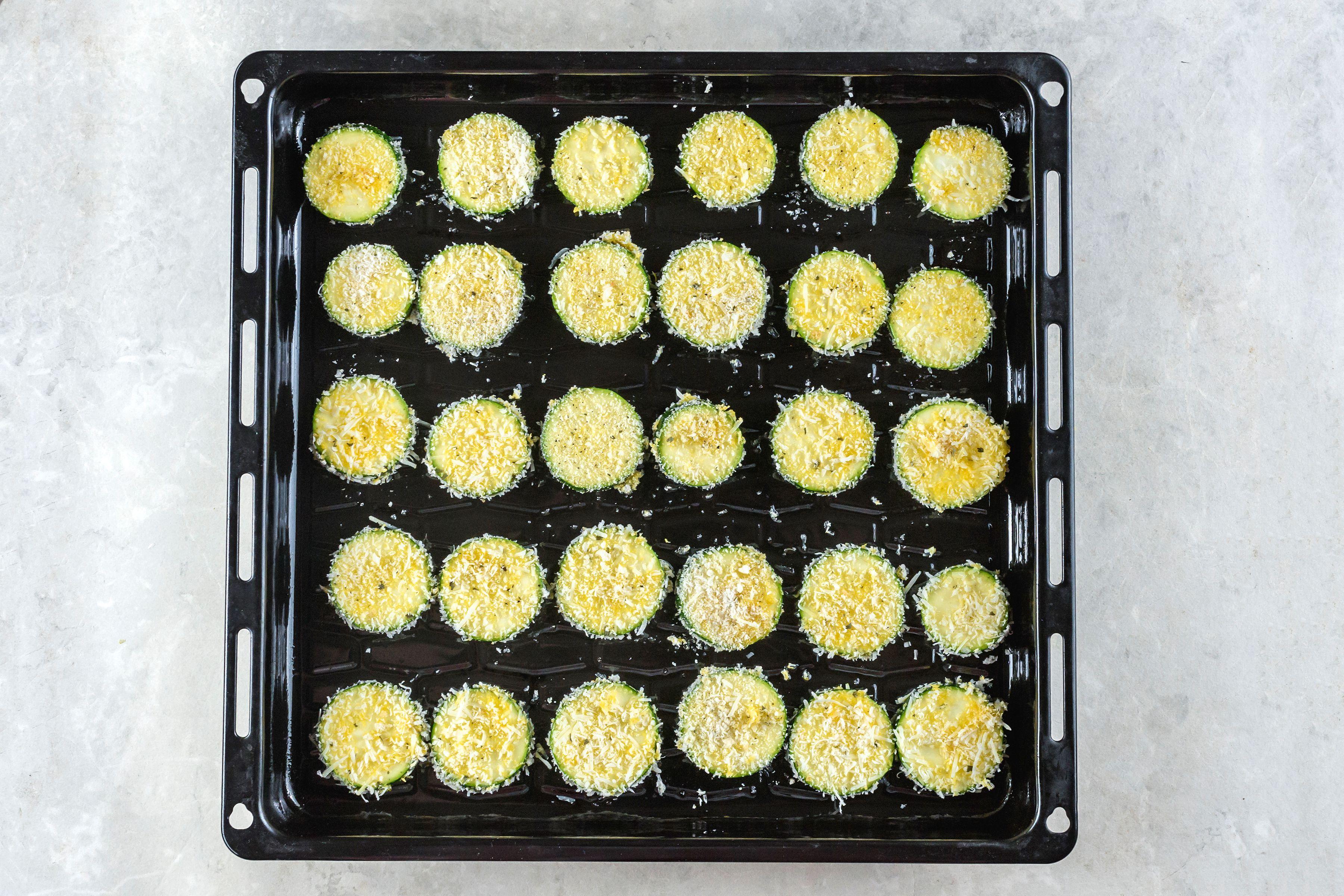 Zucchini on a baking sheet