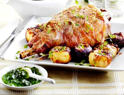 New Zealand lamb with baked onions and mint sauce
