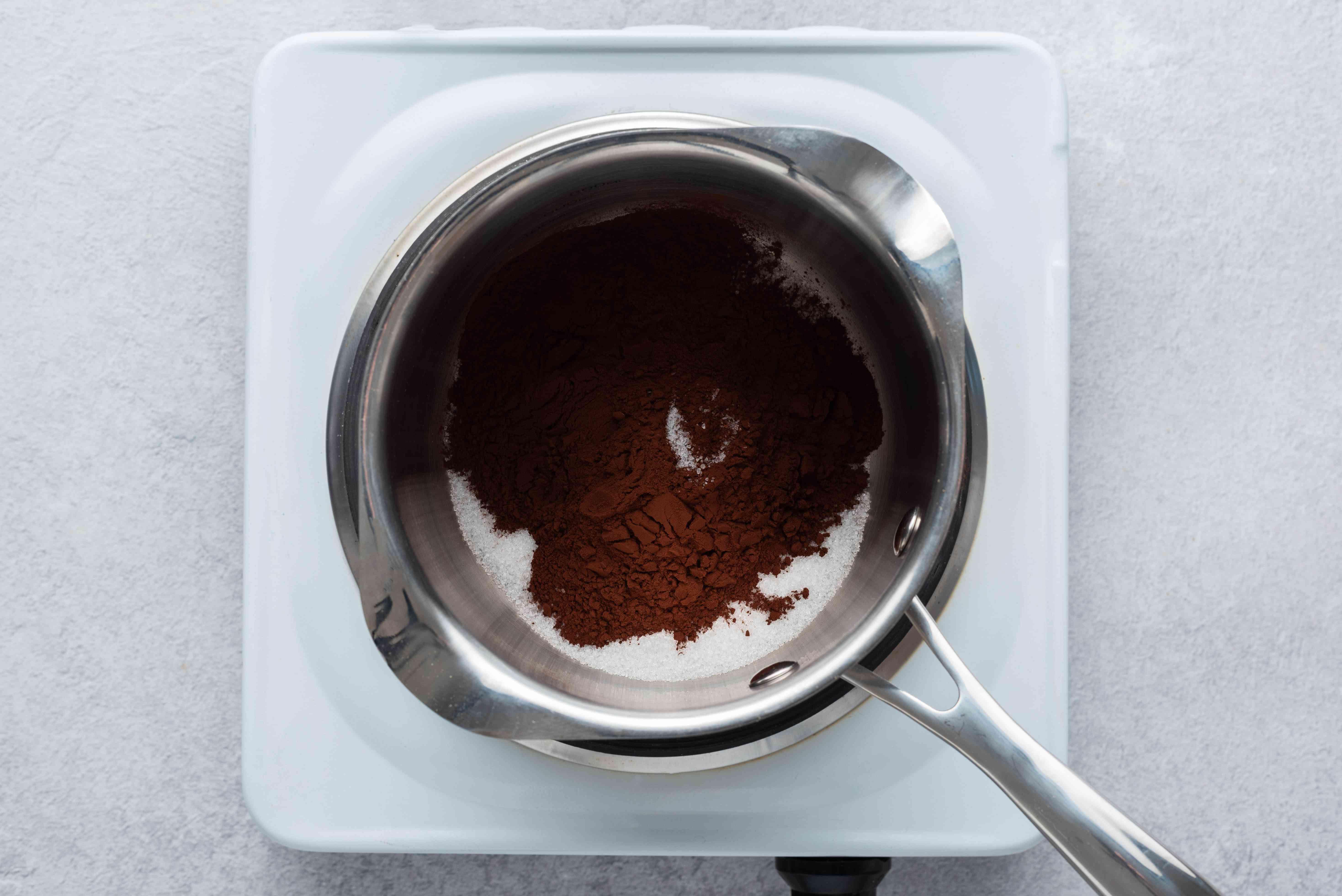 In a small saucepan, combine the sugar, cocoa powder, and salt