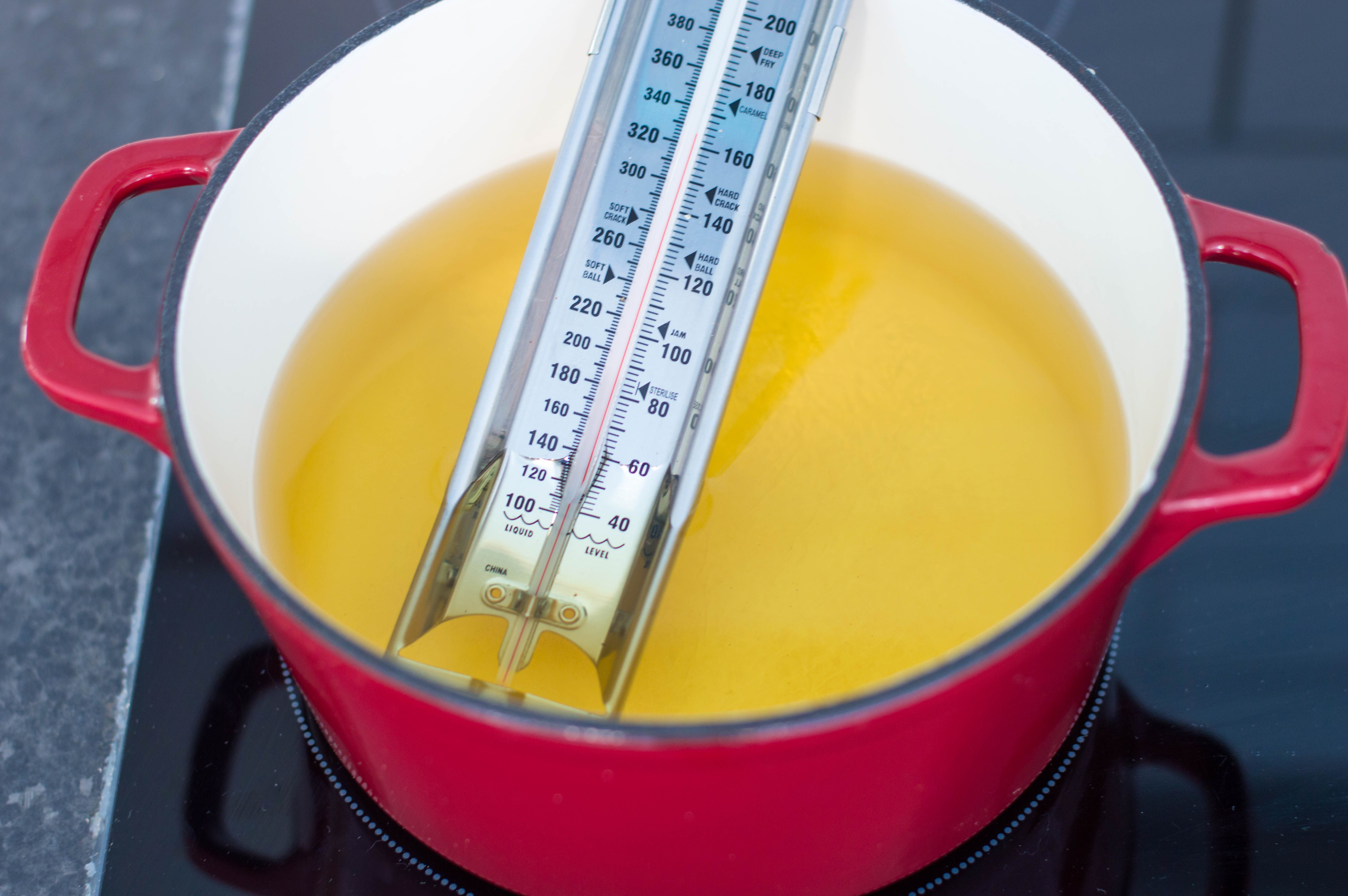 Taking the temperature of the vegetable oil