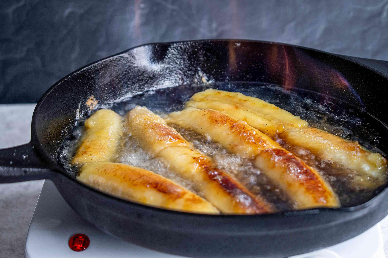 Flambé the bananas