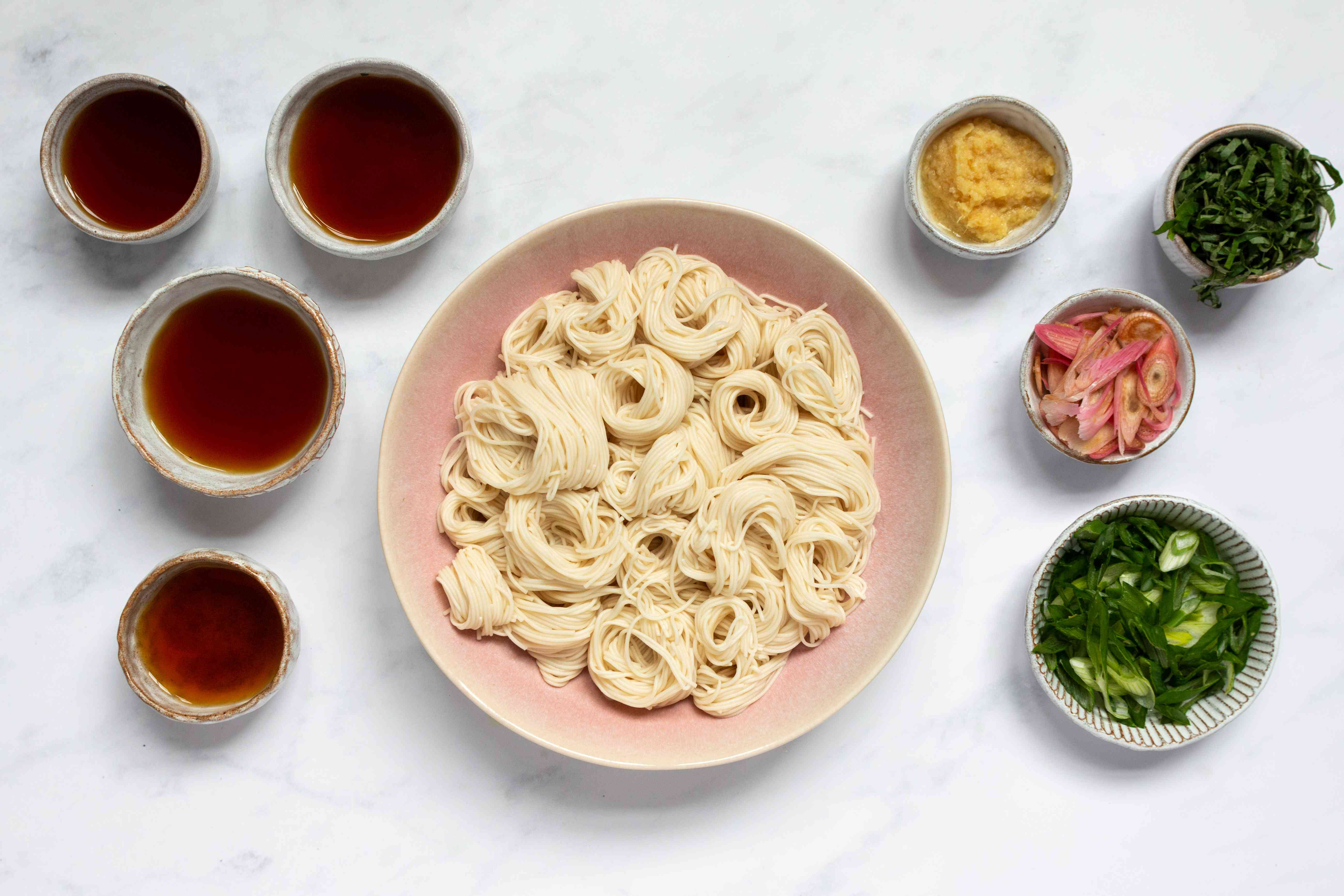 Japanese Cold Somen Noodles, with a side of sauce and toppings