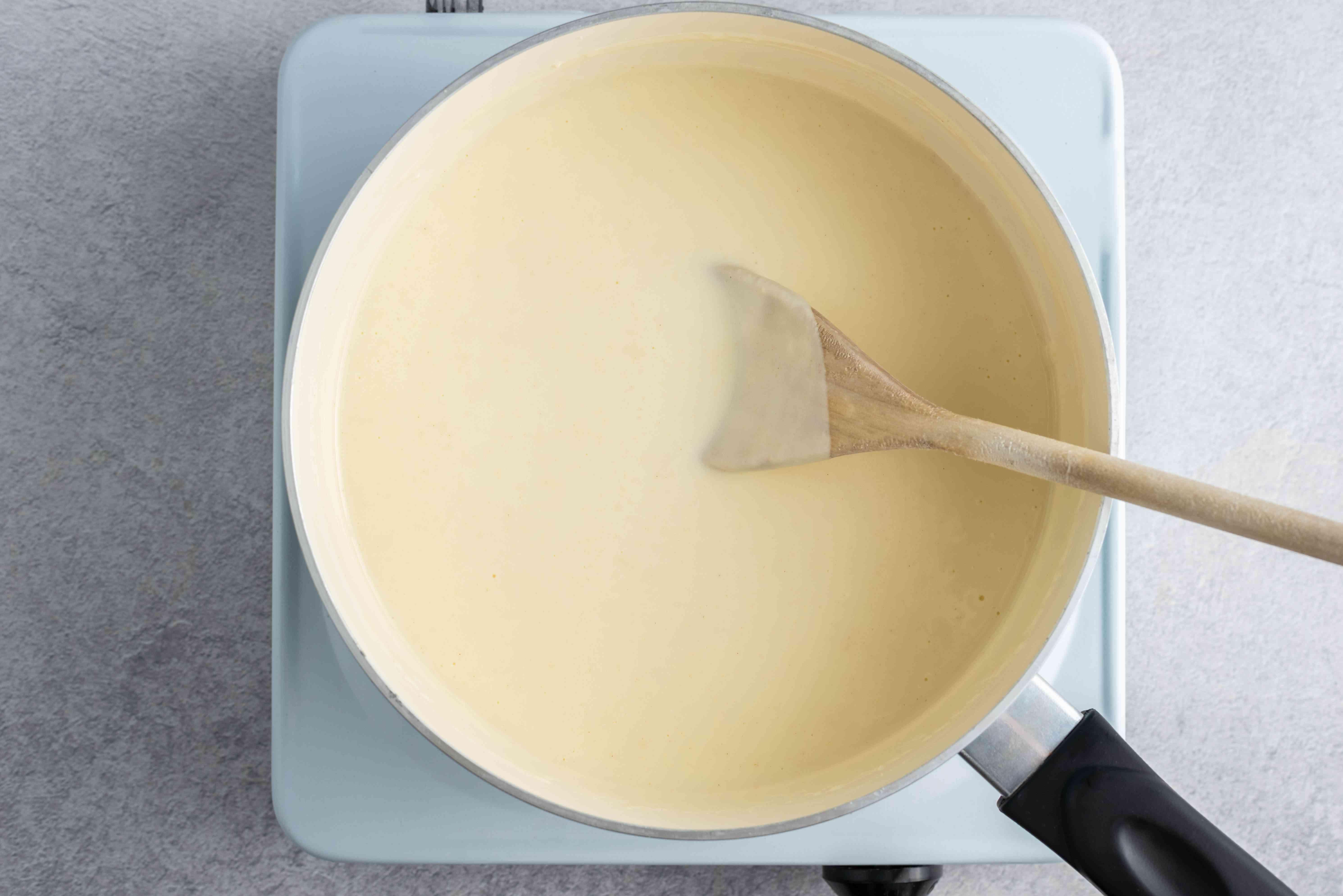 Return sauce to pan