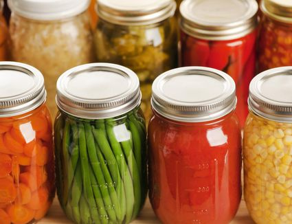 Rows of Fall Harvest Vegetable Food in Home Canning Jars