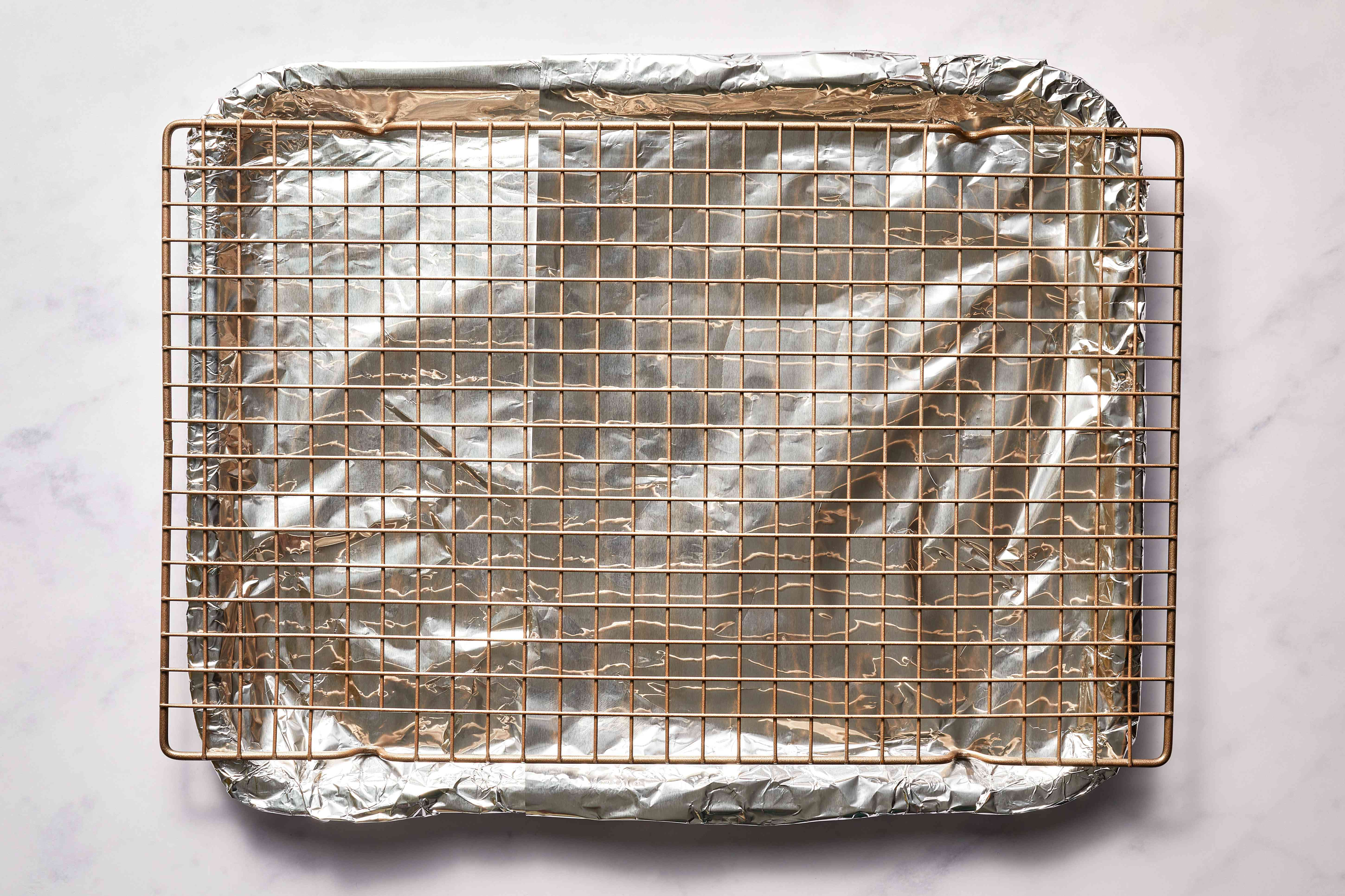 baking sheet with a cooling rack on top