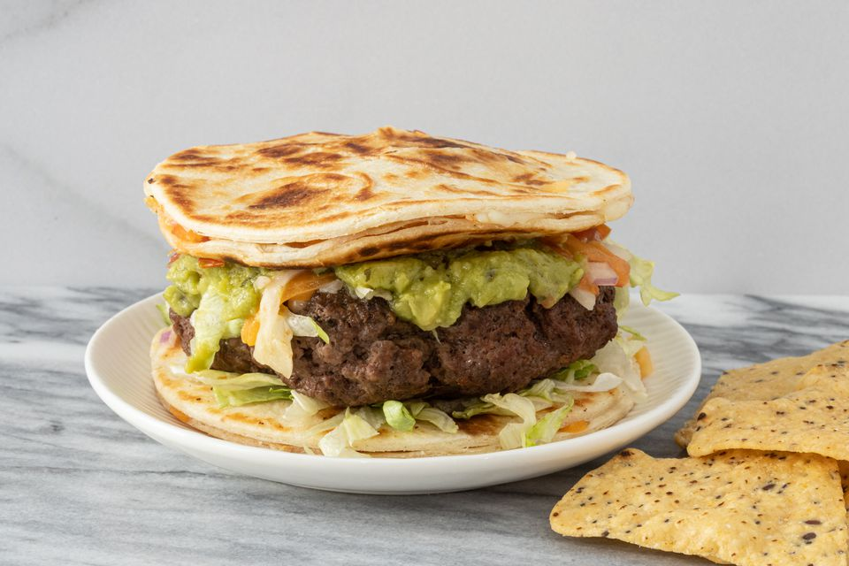 Quesadilla burger with guacamole
