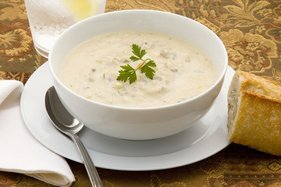 Chicken and wild rice chowder in bowl