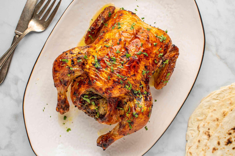 Indian-Style Stuffed Roast Chicken