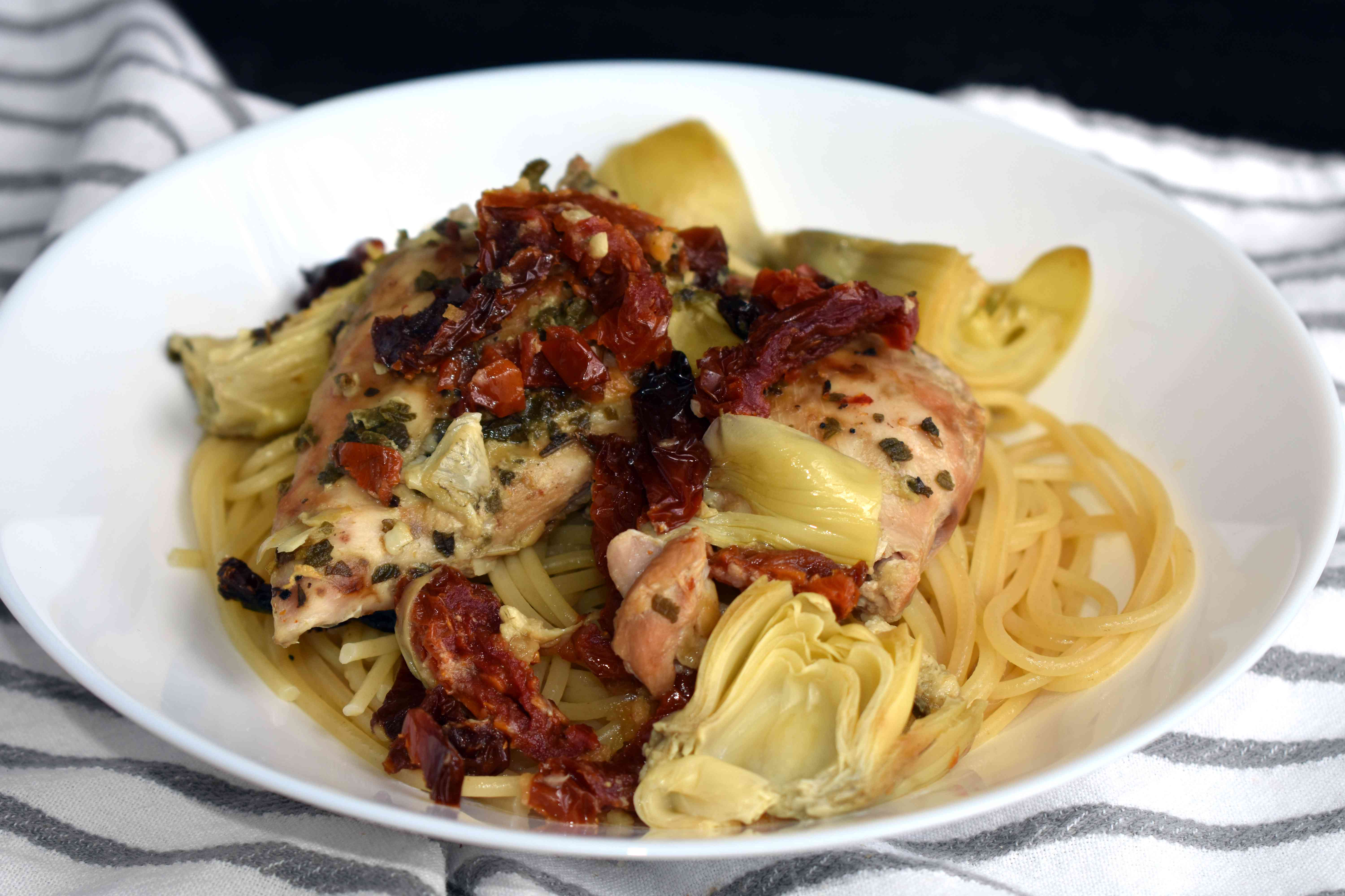 Chicken Thighs with Artichokes and Sun-Dried Tomatoes