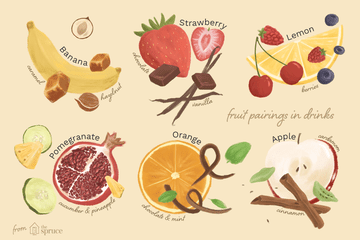 Illustration of fruit pairings for cocktail recipes: banana, strawberry, lemon, pomegranate, orange, and apple