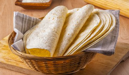Corn tortillas in a basket