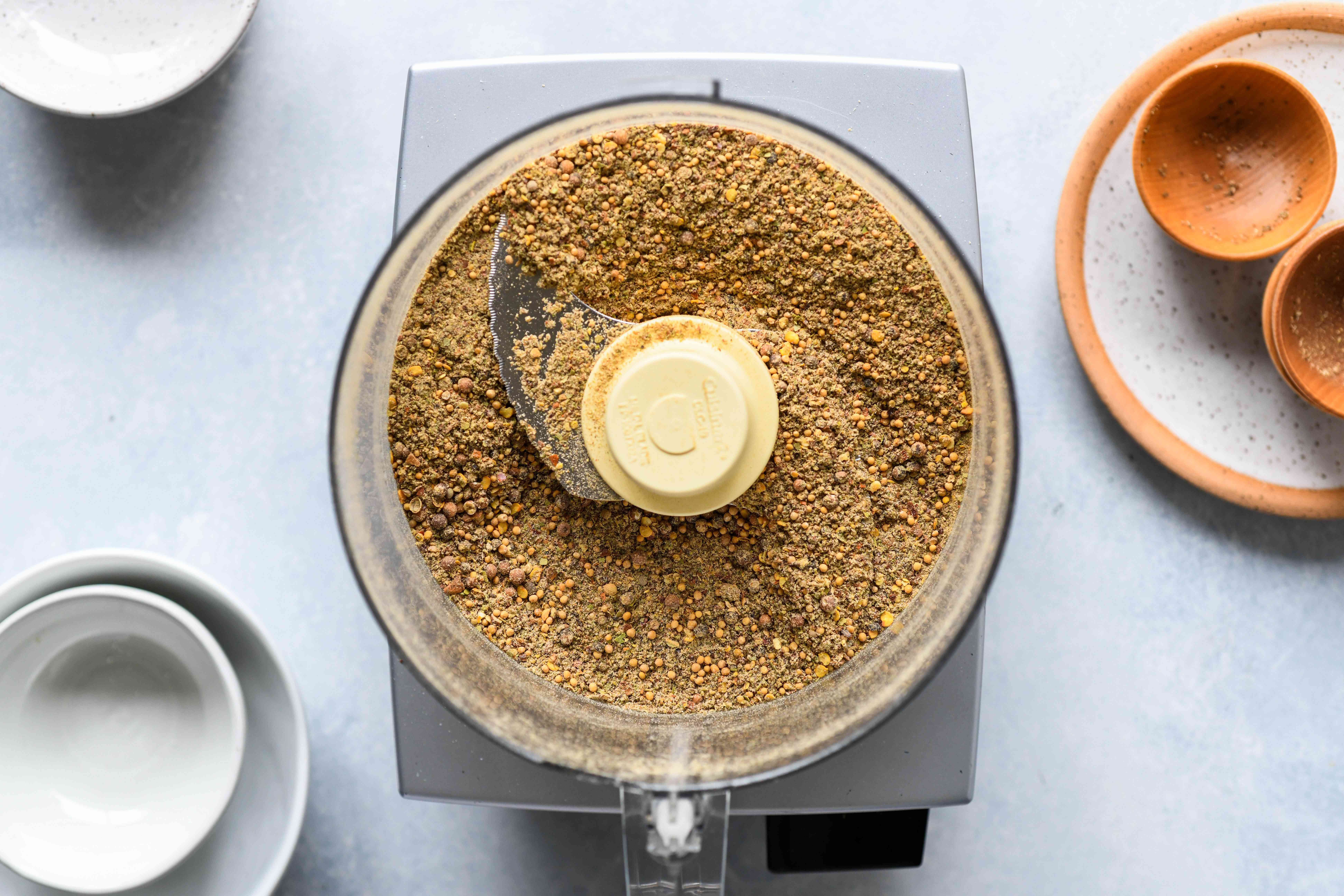 Crab Boil Spice Mix ingredients blended together in a food processor