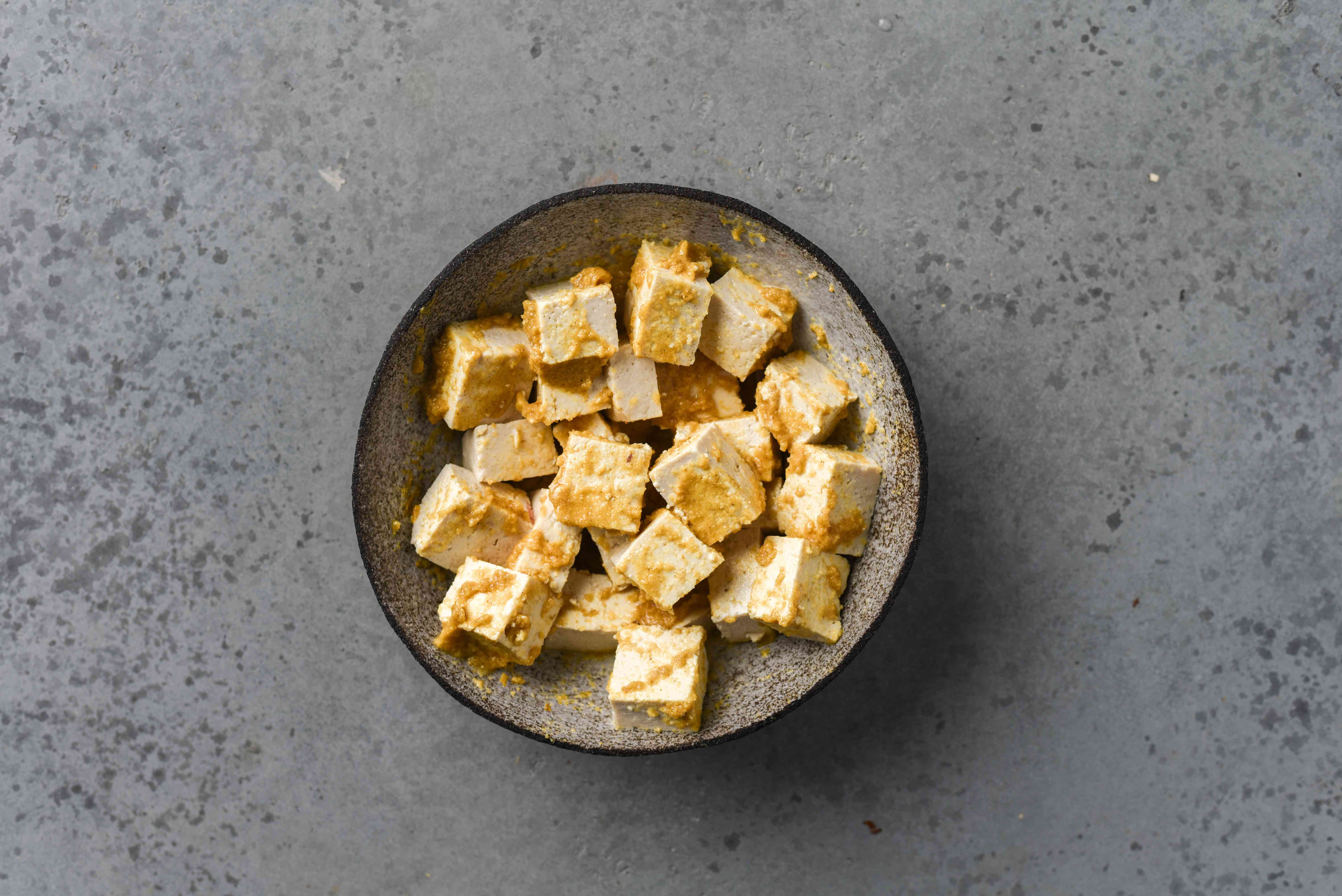 tofu and sauce in a bowl