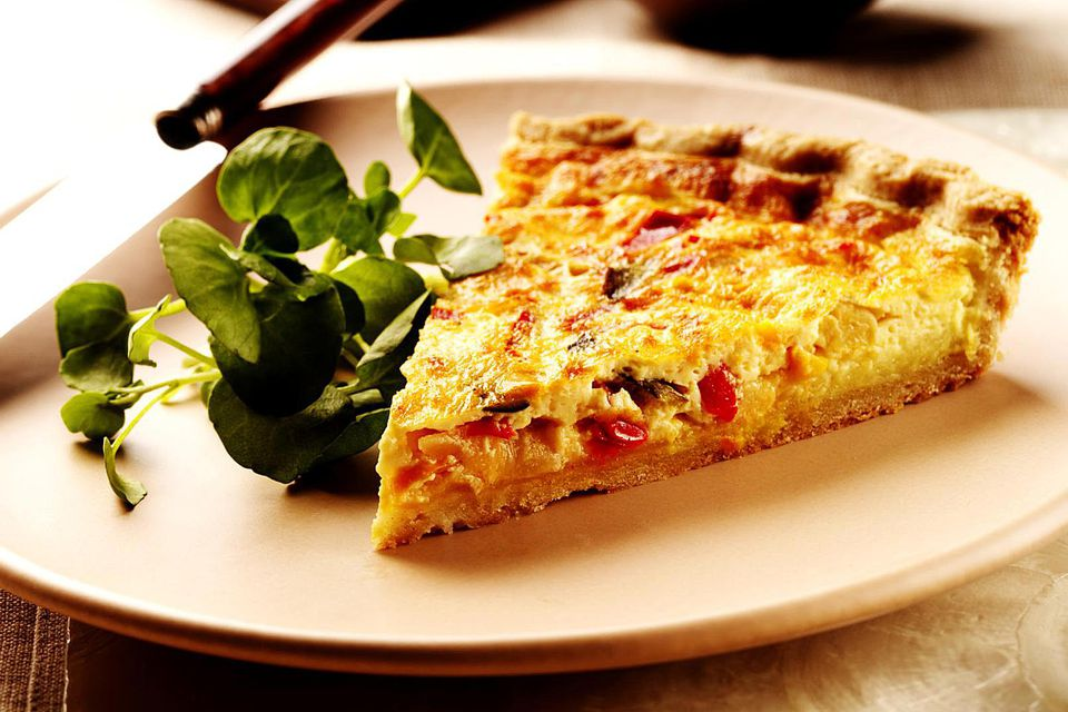 Slice of roast vegetable quiche
