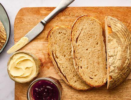 Sourdough Loaf on a wood cutting board