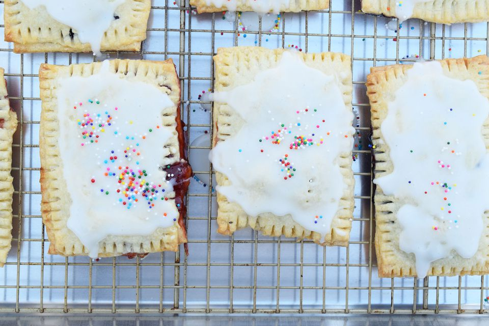 Homemade strawberry toaster pastries on a rack