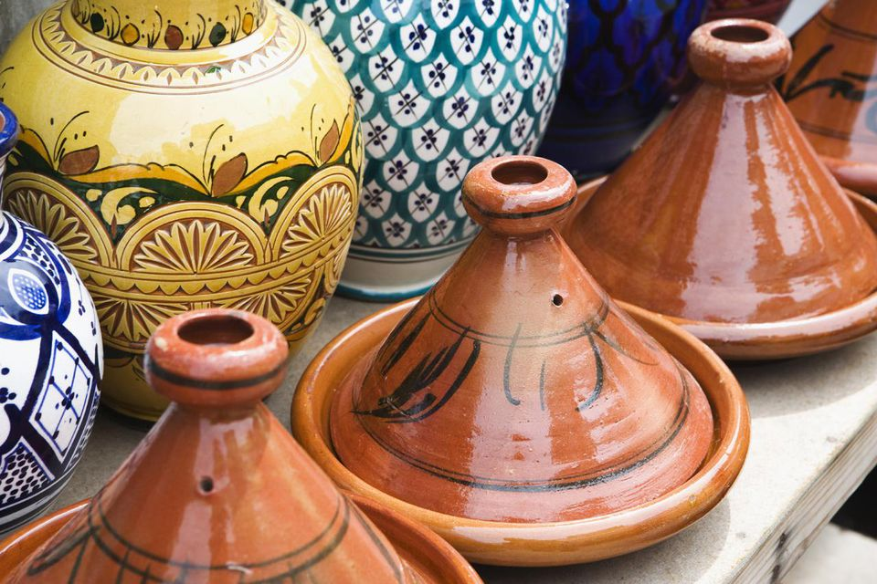 Tagines for sale at a Souk Market