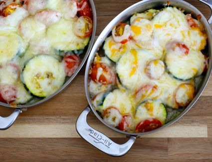 zucchini and tomatoes baked with cheese