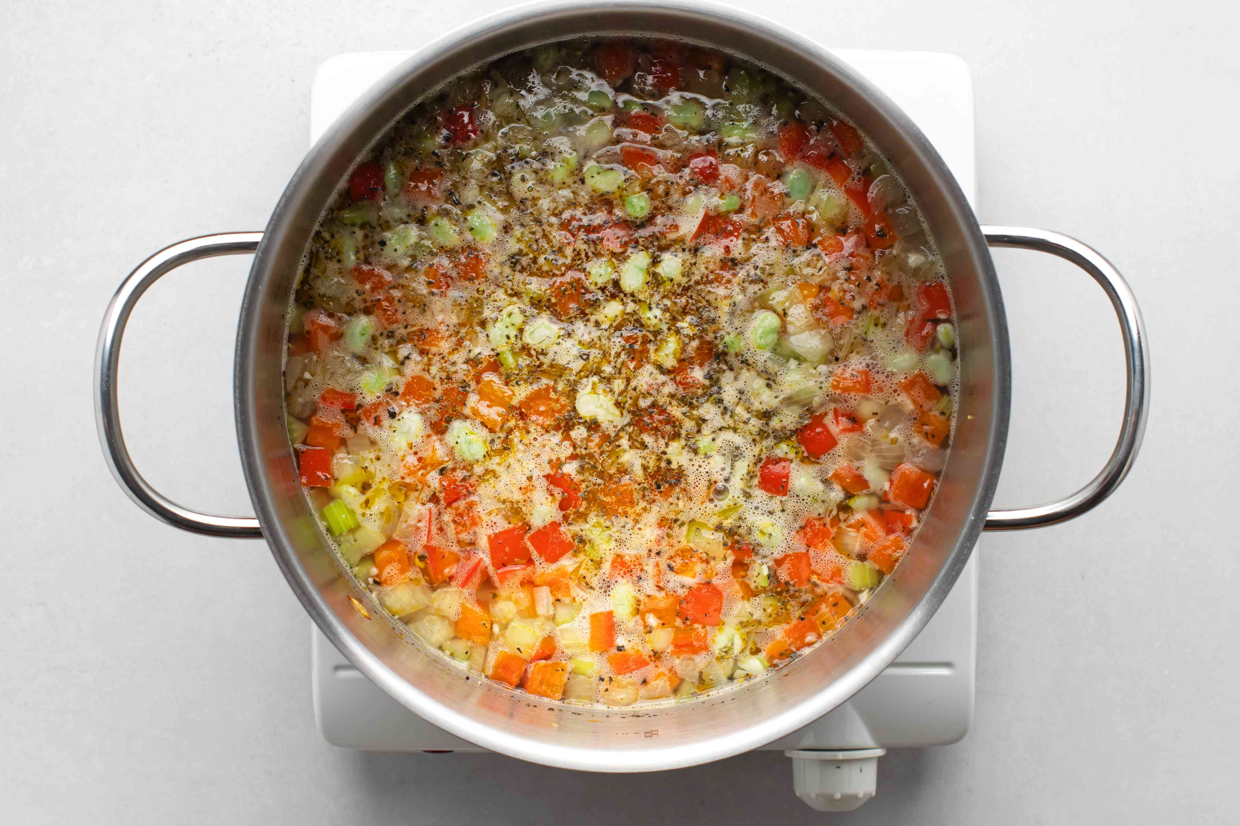 cook the bean soup in the pot