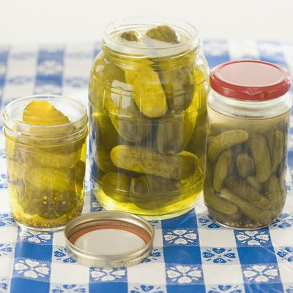 Homemade dill pickles in jars
