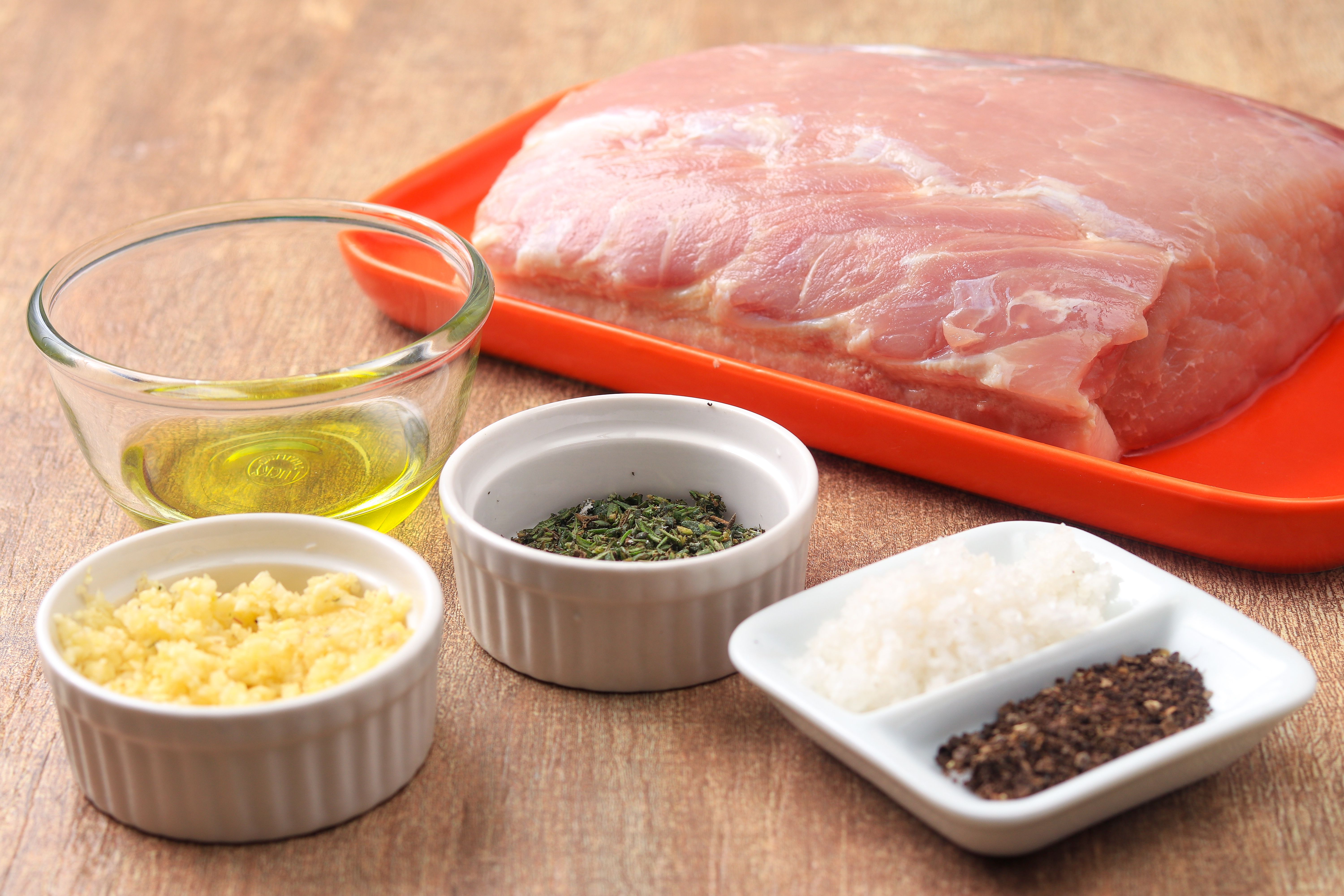 Ingredients for garlic and herb pork loin