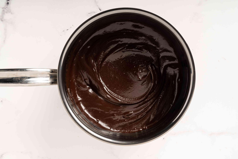 A pot of chocolate ganache