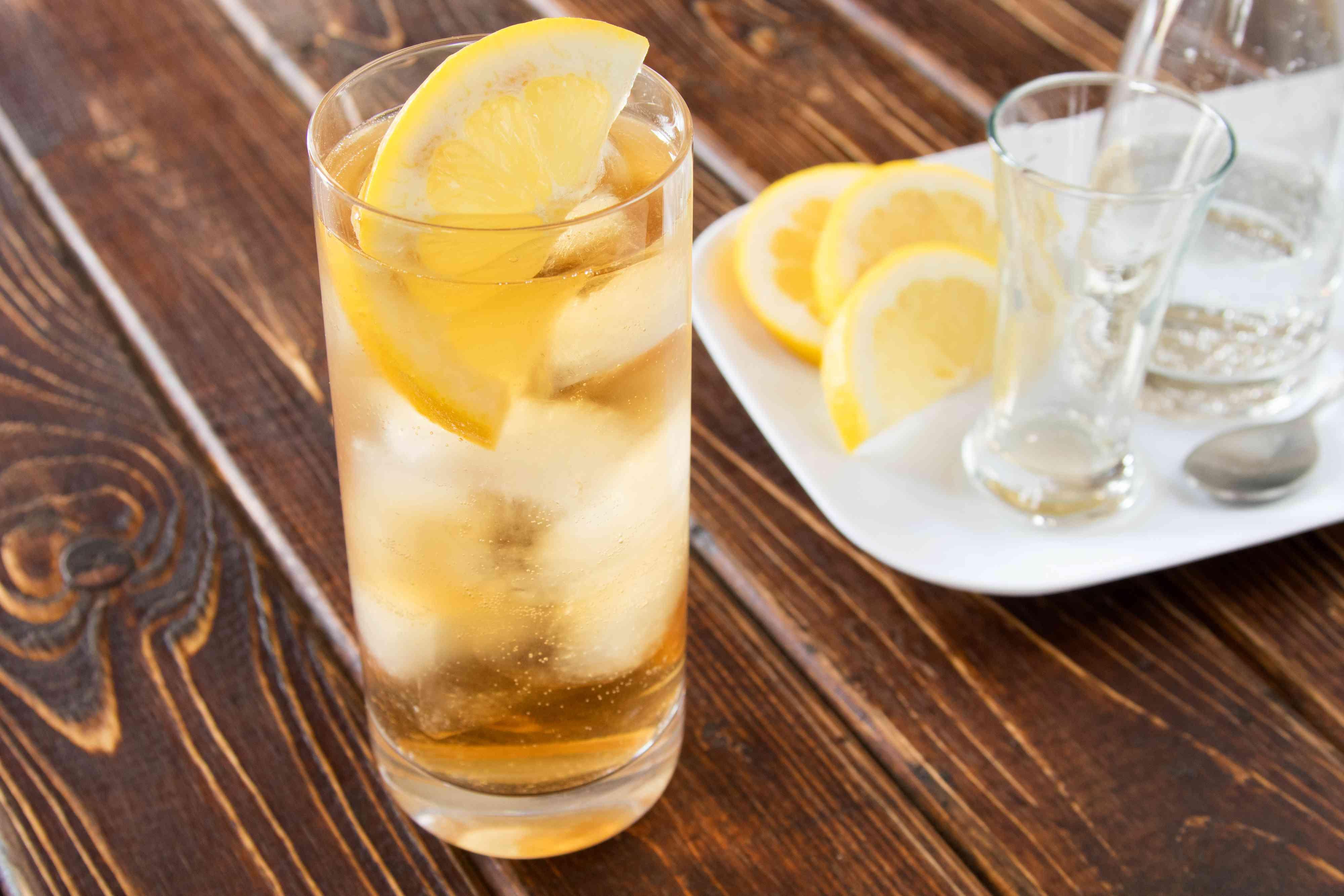Whiskey Tonic With Lemon Wedge