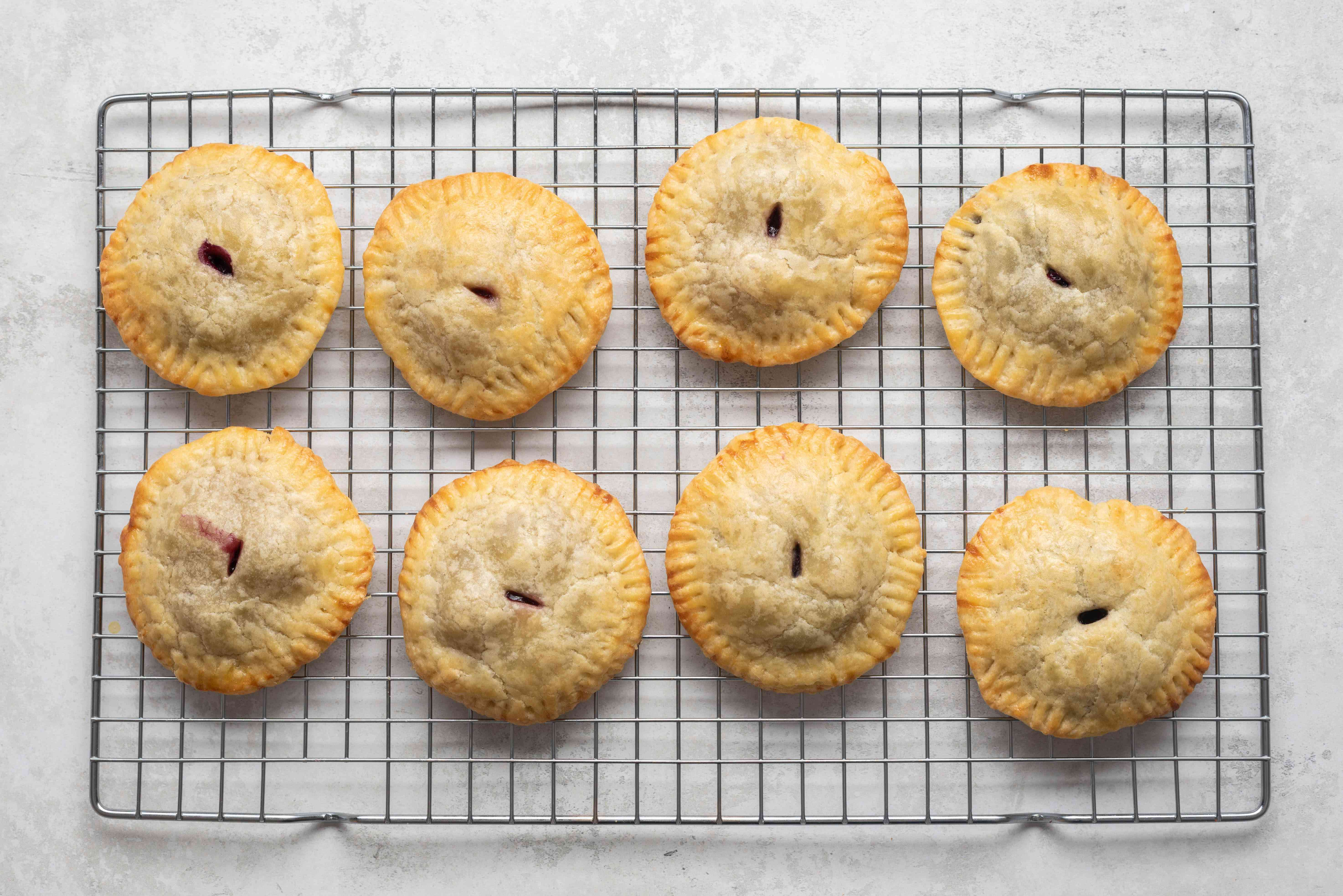 mini pies on a cooling wrack