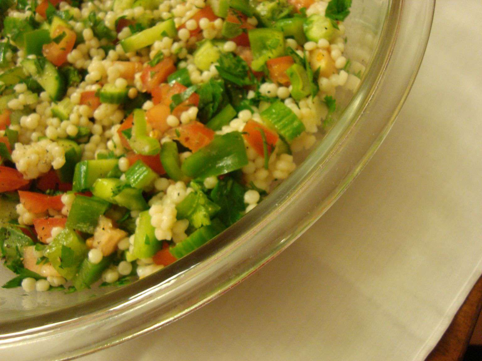 Vegetarian Israeli salad with pearl couscous