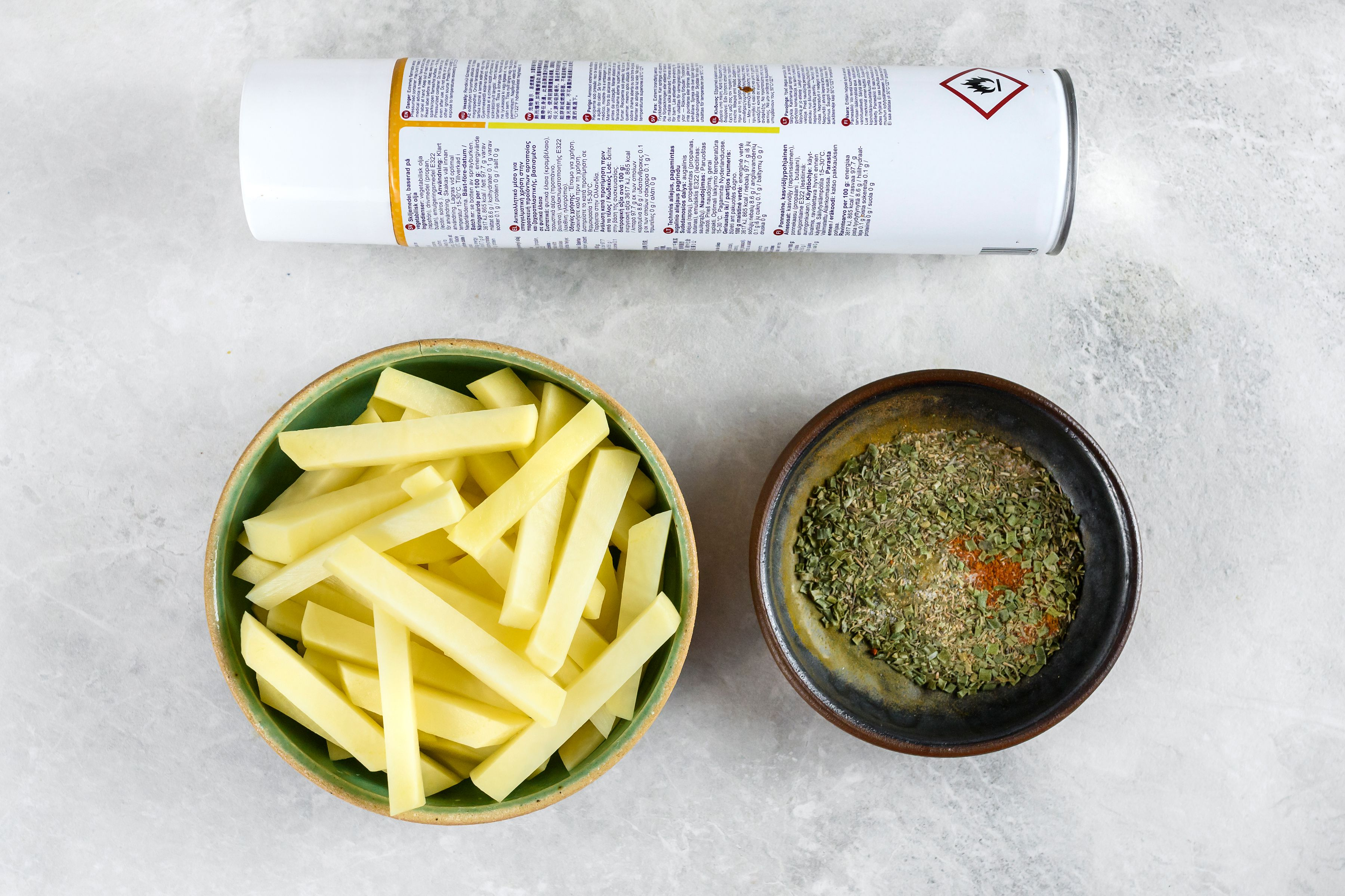 Ingredients for oven fries