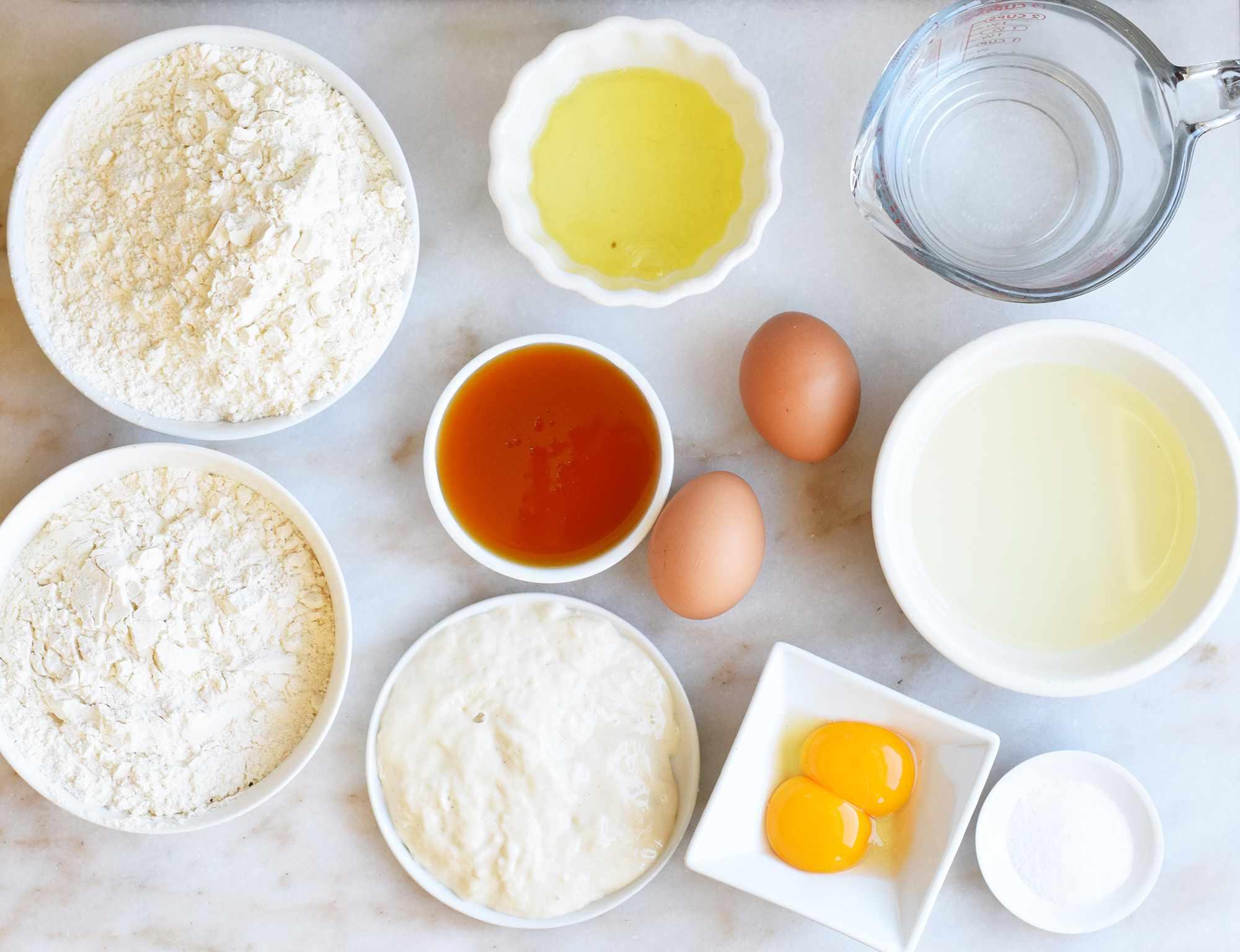 sourdough challah ingredients.