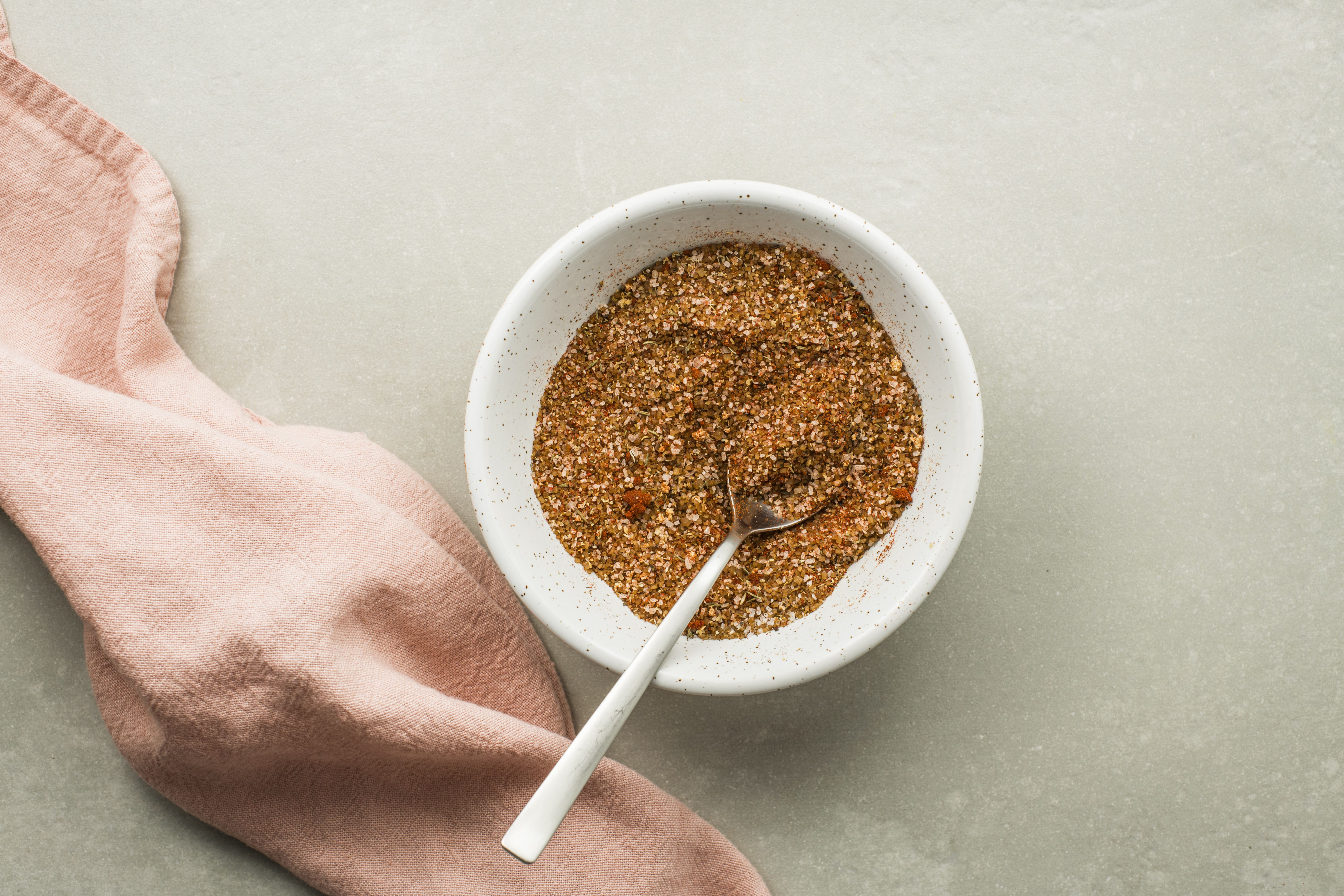 Spice rub ingredients in a bowl