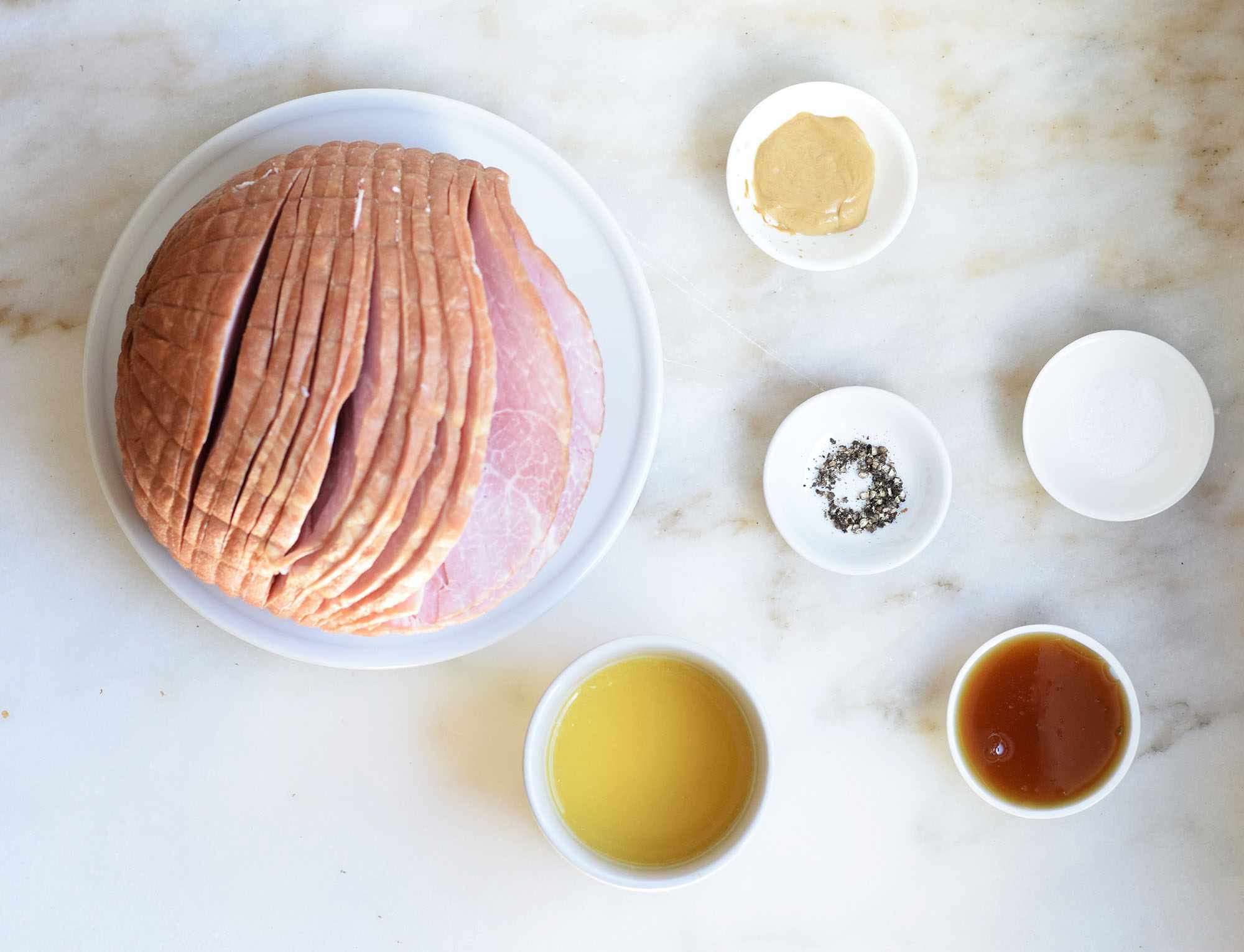 Ingredients for making a glaze for ham