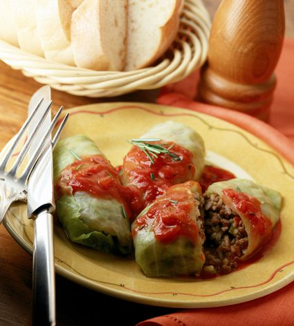 Stuffed cabbage with ground beef on plate