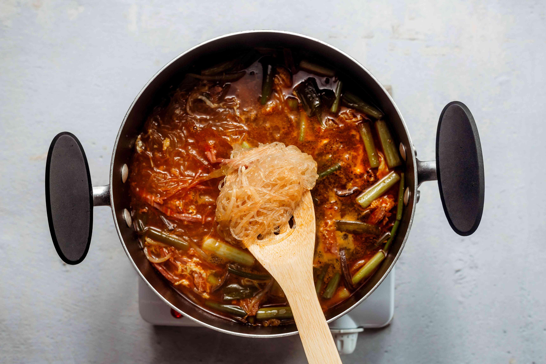 Korean Spicy Beef Soup (Yukaejang) in a pot