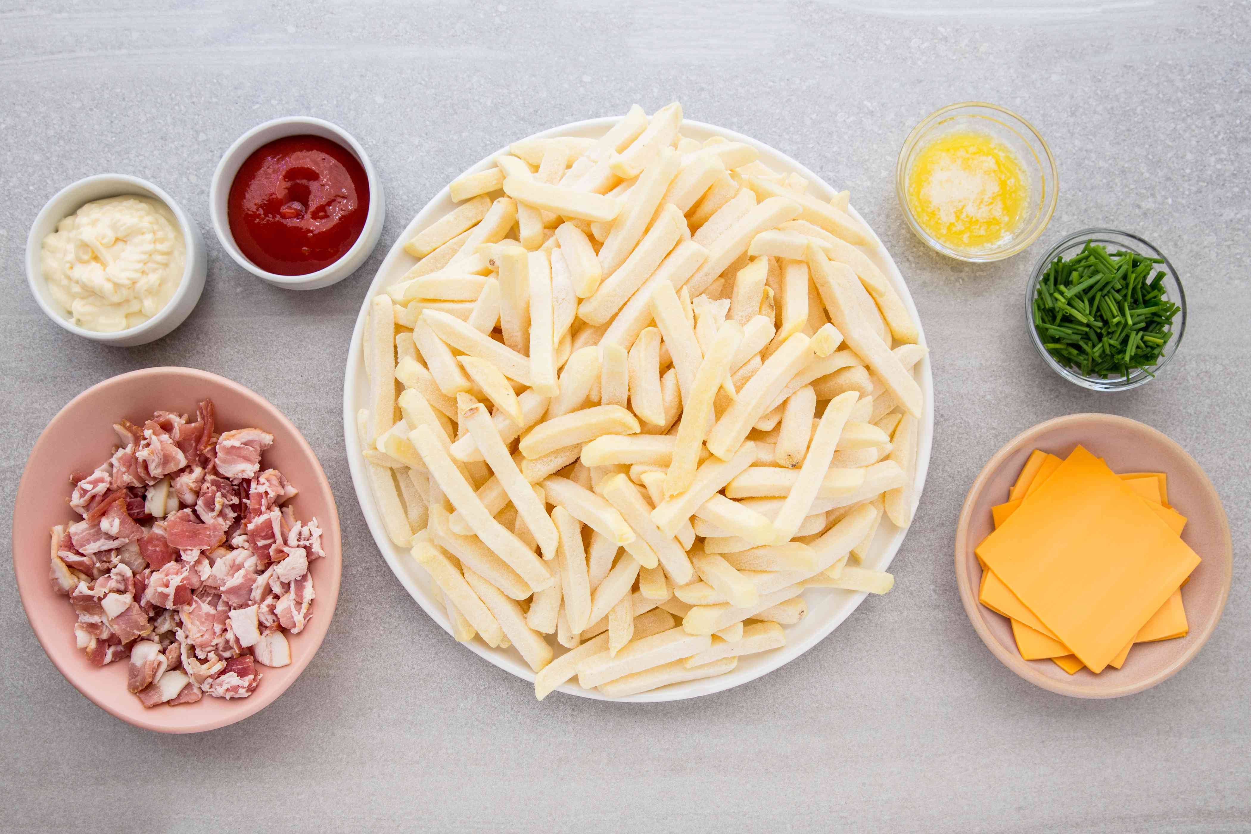 French Fries on the Grill With Cheese and Bacon ingredients