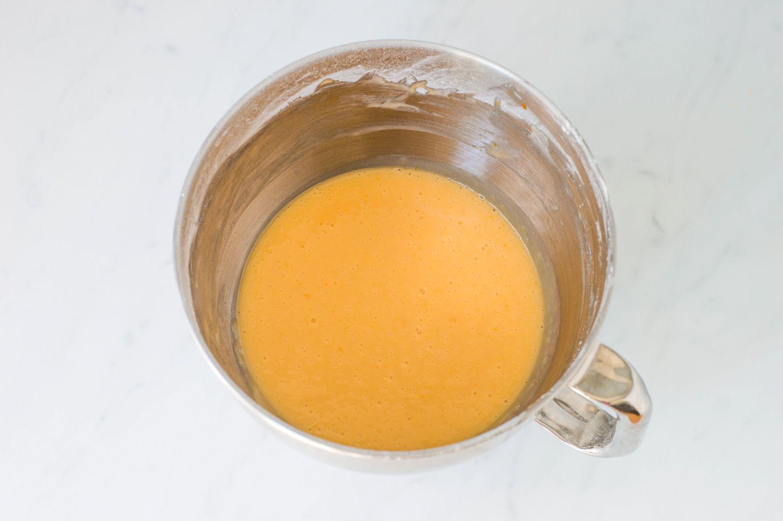Cream cheese, confectioners' sugar, eggs, and vanilla beaten until smooth