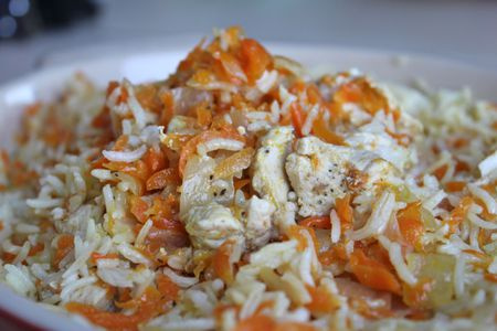 plov bukharan chicken and rice with carrots