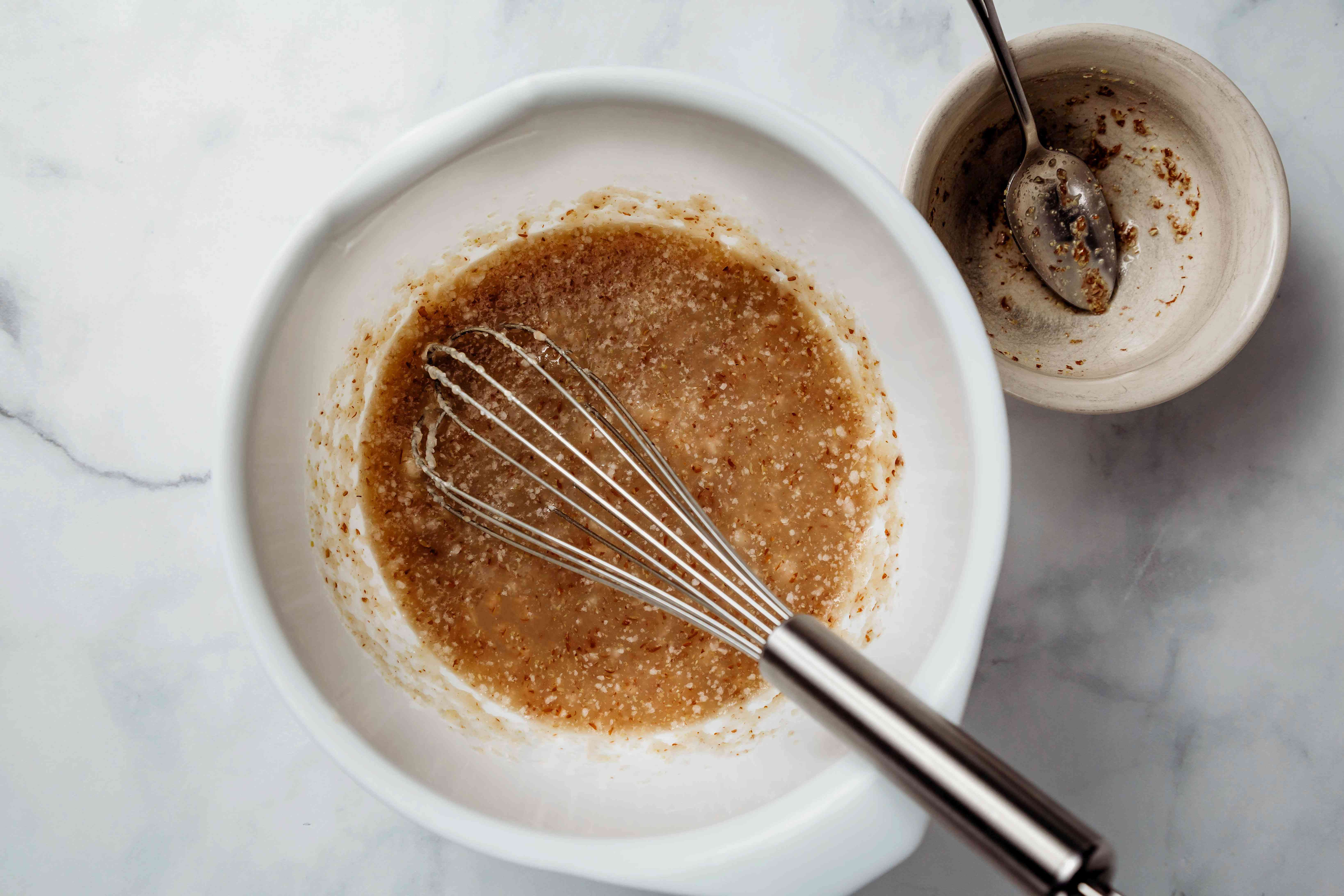 Whisk the hydrated flax mixture into the applesauce mixture