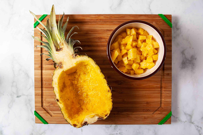 Cut the pineapple chunks into a medium dice