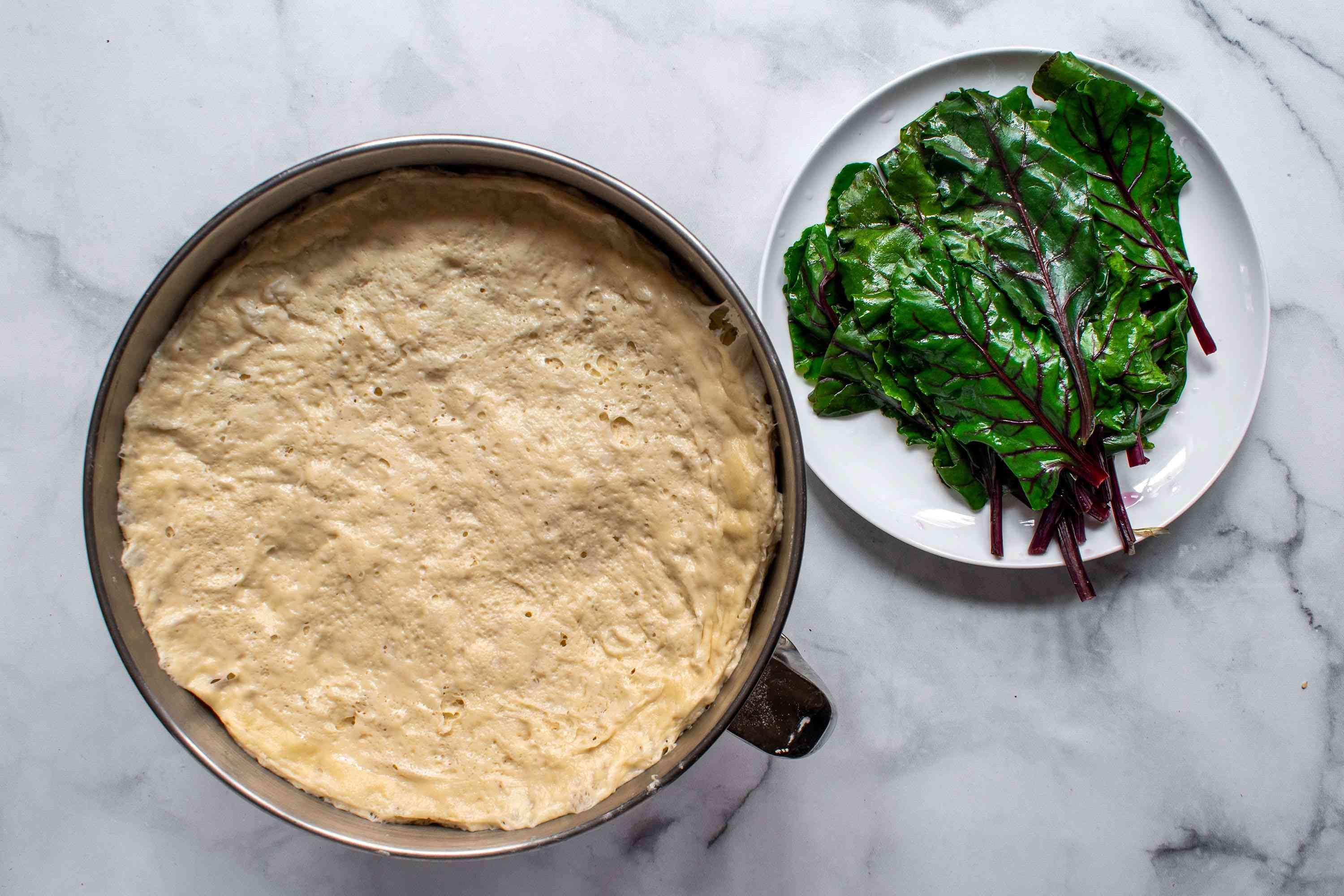 beet leaves and dough
